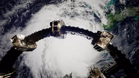 expedição : 4k Flight Of The International Space Station Above the Earth.