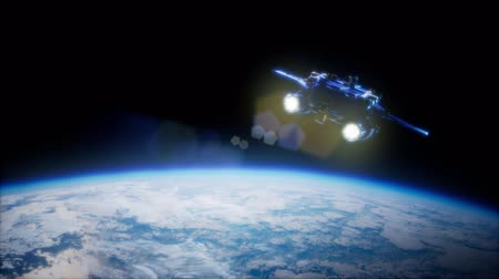 sputnik satellite : Space Shuttle Orbiting Earth Stock Footage