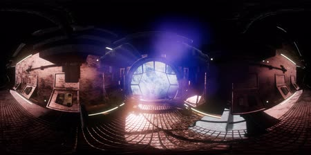 unlocking : vr 360 camera moving inside a spaceship tunnel. ready for use in vr360
