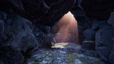 seacave : 4k sun light inside beautiful mysterious cave