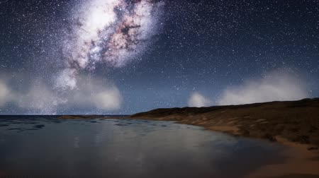 startrails : Milk Way stars above the lake at night