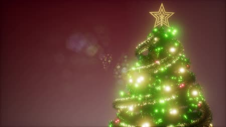 snow sparkle : Joyful studio loop shot of a Christmas tree with colorful lights Stock Footage