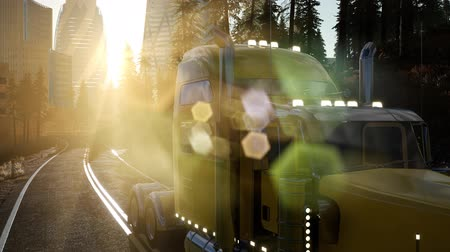 camionagem : Truck on the road at sunset