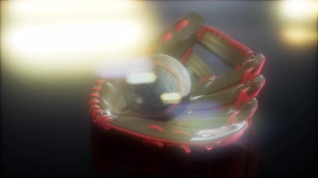 jarras : Baseball and Mitt at Dark Background Stock Footage