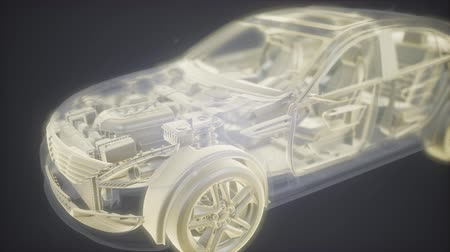 kavramak : Holographic animation of 3D wireframe car model with engine
