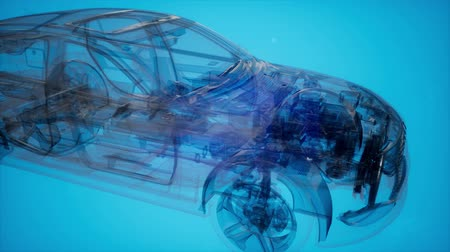 pista de corridas : Holographic animation of 3D wireframe car model Vídeos