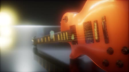 truss : electric guitar in the dark with bright lights Stock Footage