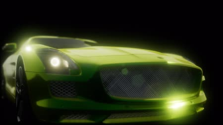 super car : luxury sport car in dark studio with bright lights