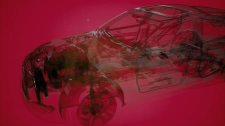 lastik : Holographic animation of 3D wireframe car model Stok Video