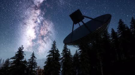 milkyway : astronomical observatory under the night sky stars. hyperlapse