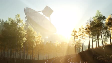 iletmek : The observatory radio telescope in forest at sunset Stok Video