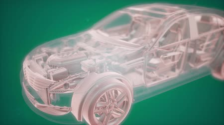vehicle part : Holographic animation of 3D wireframe car model with engine