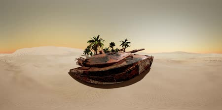 blindado : VR 360 old rusty tank in the desert at sunset