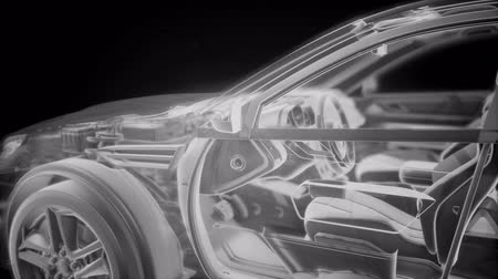 kupé : Holographic animation of 3D wireframe car model with engine