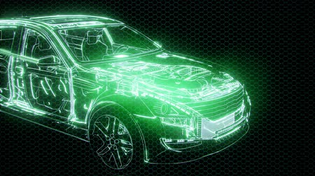 rysunek techniczny : Holographic animation of 3D wireframe car model with engine
