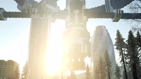 unidentified : Alien spacecraft is hovering above the city Stock Footage