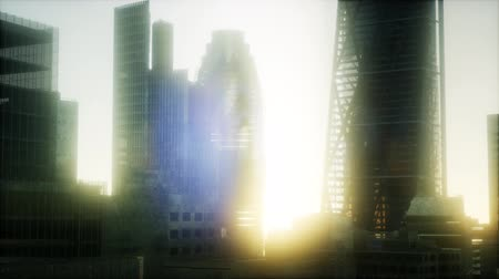 bank tower : concept of London city at sunset Stock Footage