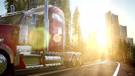commercial cultivation : Truck on the road at sunset