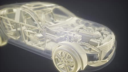 kavrama : Holographic animation of 3D wireframe car model with engine