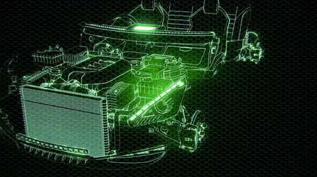 maska : Holographic animation of 3D wireframe car model with engine