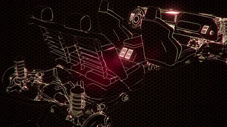 felülnézet : Holographic animation of 3D wireframe car model with engine
