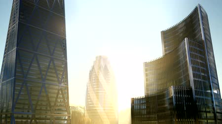 stylised : city skyscrapes with lense flairs at sunset Stock Footage