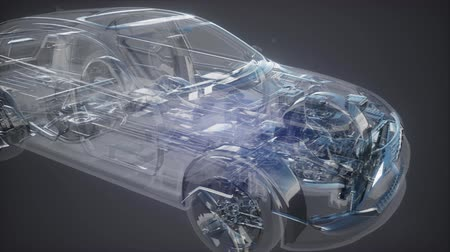cinematic : Holographic animation of 3D wireframe car model Stock Footage
