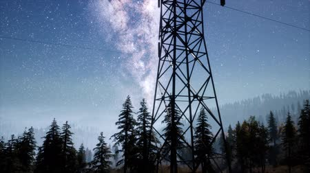 boş : High-voltage power lines on the background of the starry sky