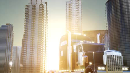 ithalat : lorry truck and skyscrapers at sunset