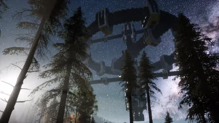 посетитель : UFO hovering over a forest at night with light beam Стоковые видеозаписи