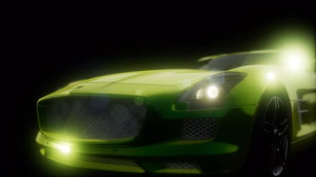 exclusivo : luxury sport car in dark studio with bright lights