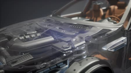 painel : engine and other parts visible in car