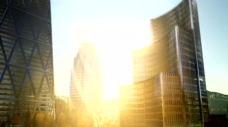 metropolitano : city skyscrapes with lense flairs at sunset Stock Footage