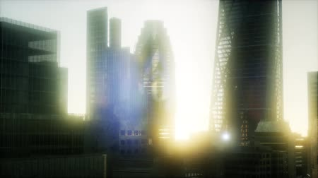 kanarya : concept of London city at sunset Stok Video