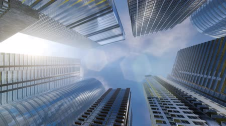 mirror glass : Windows of Skyscraper Business Office with blue sky Stock Footage