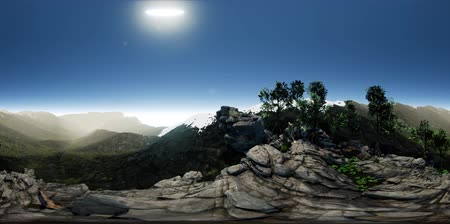 derece : vr 360 aerial camera moving above rocks in mountains. ready for VR