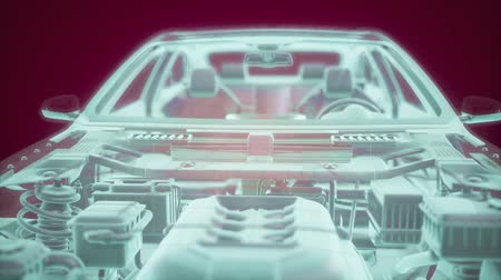 wire frame : Holographic animation of 3D wireframe car model with engine