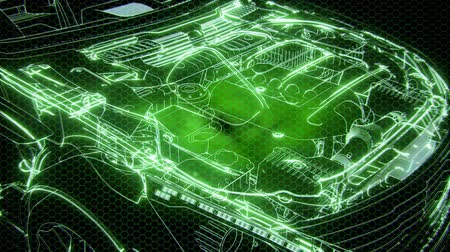 redaccion : Holographic animation of 3D wireframe car model with engine