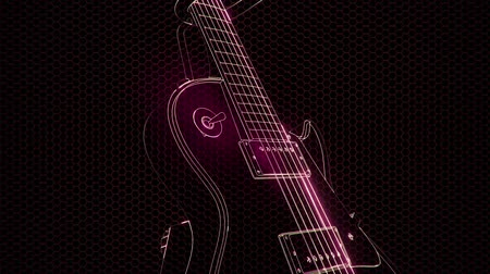 musician : electric guitar in the hologram with bright lights
