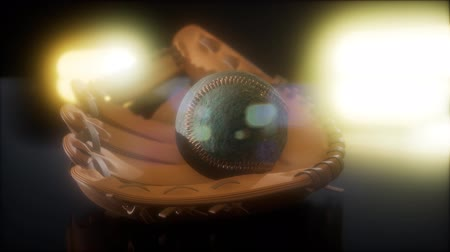 usado : Baseball and Mitt at Dark Background Stock Footage