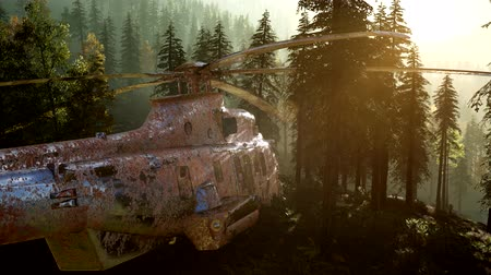 armed : old rusted military helicopter in the mountain forest at sunrise Stock Footage
