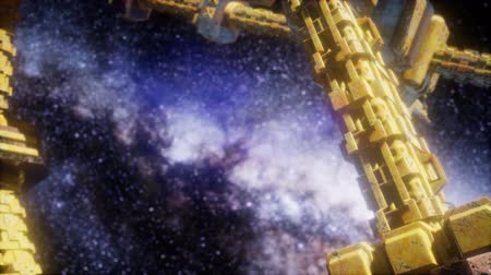 celestial : Space Ship and Milky Way Stars Stock Footage