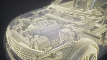 fogaskerekek : Holographic animation of 3D wireframe car model with engine