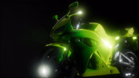 płot : moto sport bike in dark studio with bright lights Wideo