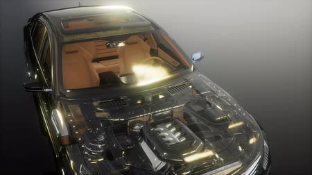 лошадиная сила : engine and other parts visible in car