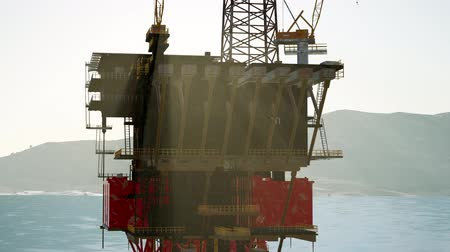 rigs : oil drill rig platform on the sea Stock Footage