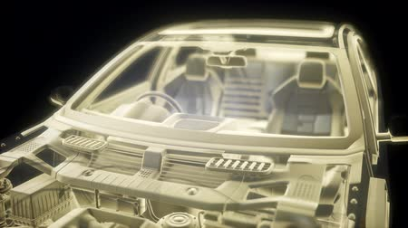двухместная карета : Holographic animation of 3D wireframe car model with engine
