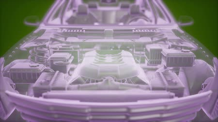 filtro : Holographic animation of 3D wireframe car model with engine