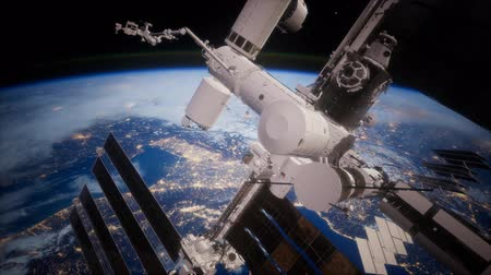 modul : A view of the Earth and a spaceship. orbiting the Earth Stock mozgókép