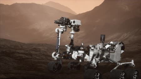 siding : Curiosity Mars vehicle exploring the surface of red planet Stock Footage